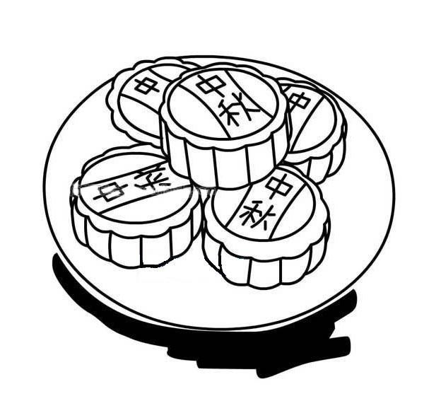 一盘月饼简笔画图片 如何画中秋节月饼