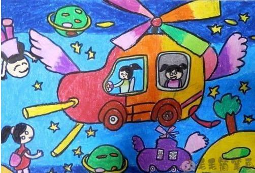 会飞的汽车绘画
