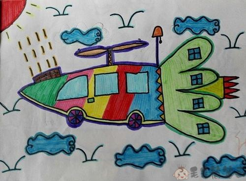 未来汽车儿童画