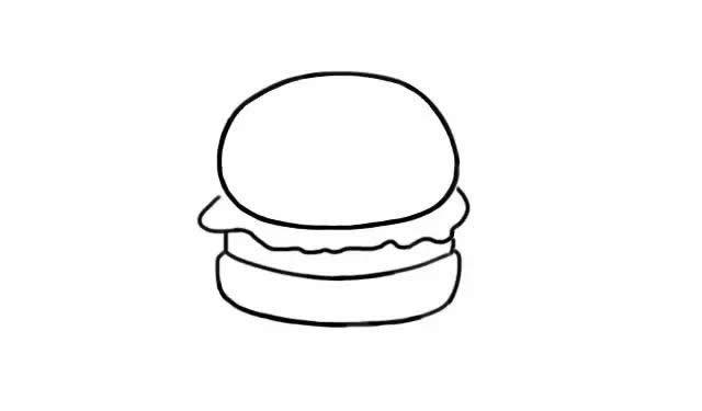 汉堡简笔画步骤图