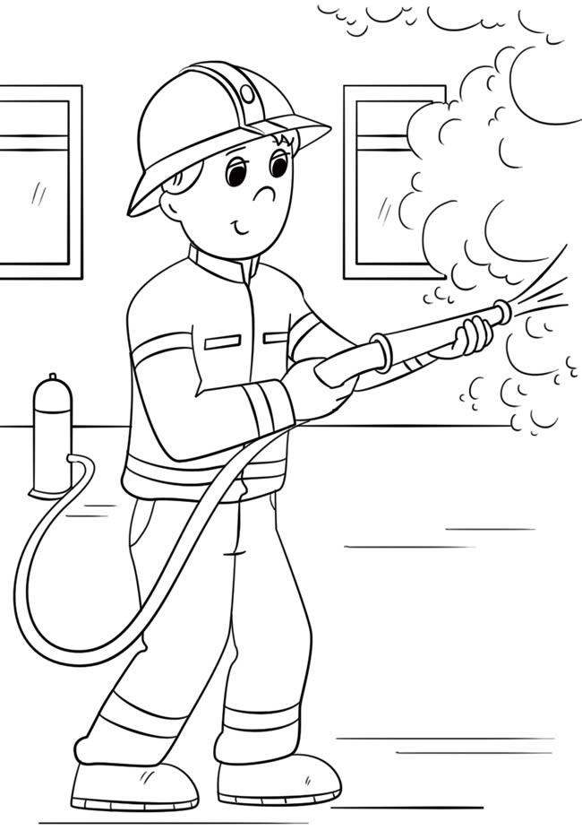 【消防员简笔画】卡通消防员救火图片简笔画 人物-第1张