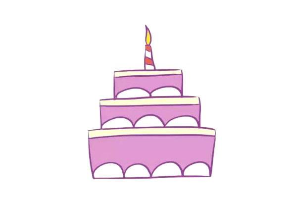 三层生日蛋糕简笔画,儿童简笔画蛋糕画法 初级简笔画教程-第1张