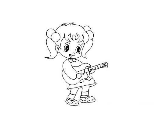 弹吉他的小女孩简笔画画法 人物-第1张