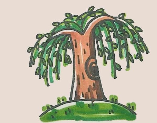 柳树简笔画的画法步骤图解教程 中级简笔画教程-第1张