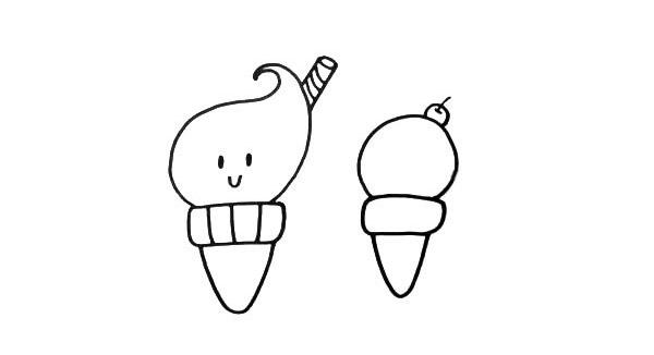 卡通甜筒简笔画