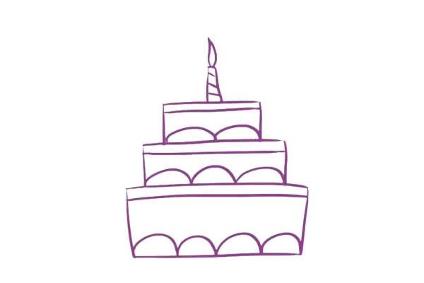三层生日蛋糕简笔画,儿童简笔画蛋糕画法 初级简笔画教程-第6张