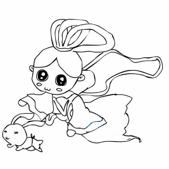 【嫦娥简笔画】卡通儿童嫦娥奔月简笔画图片大全 人物-第4张