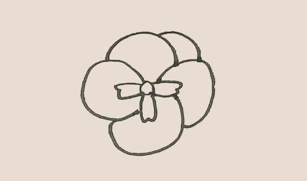 三色堇花朵简笔画的画法 中级简笔画教程-第5张