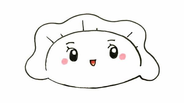 可爱的小饺子怎么画,可爱饺子简笔画彩色画法步骤图片