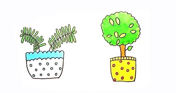 两盆漂亮的盆栽简笔画彩色画法步骤图教程 植物-第1张