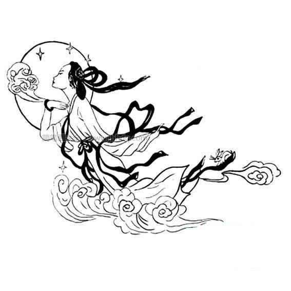 卡通嫦娥和玉兔简笔画 人物-第3张