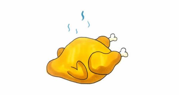 怎么画烤鸡简单又好看,烤鸡简笔画步骤画法图片