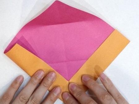 长方形信封的折法图解 手工折纸-第4张