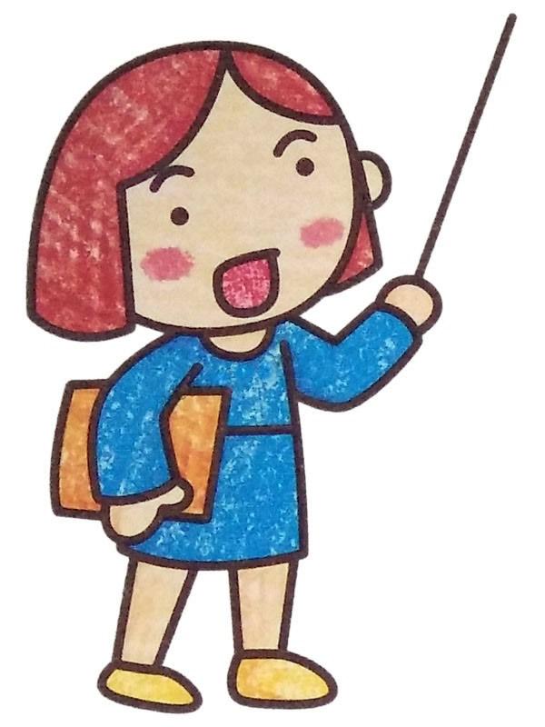 漂亮的短发女教师简笔画彩色图片 人物-第1张