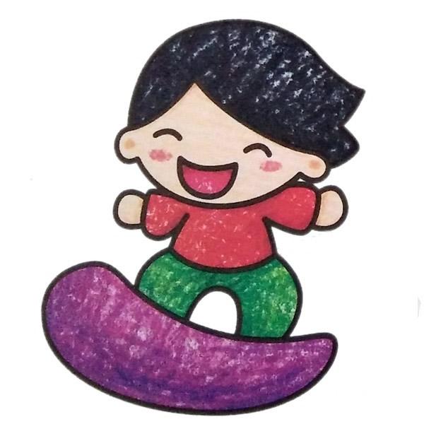 玩滑板的小男孩简笔画填色图 人物-第1张