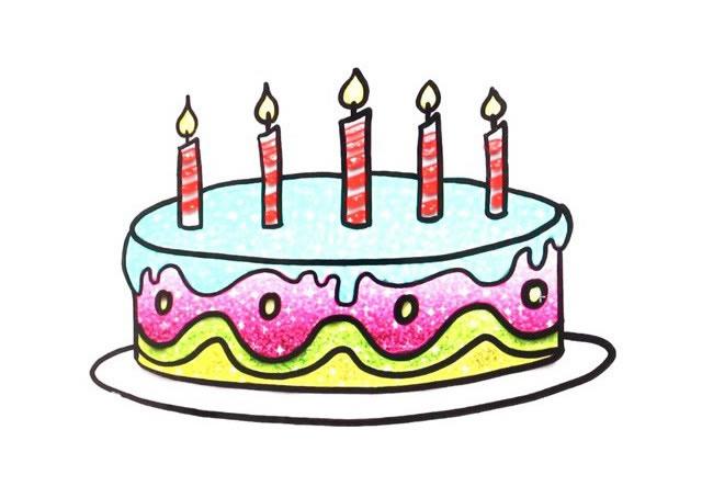 漂亮的生日蛋糕简笔画图片