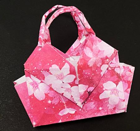 手提包折纸步骤图 手工折纸-第1张