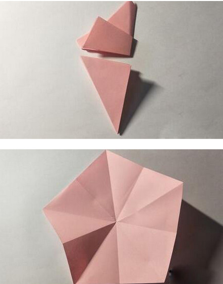 五角星花折纸教程图解 手工折纸-第6张