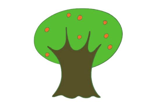 果树简笔画的画法步骤图解教程及图片大全 植物-第10张