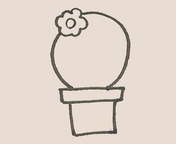 仙人球花简笔画步骤图解教程 中级简笔画教程-第6张