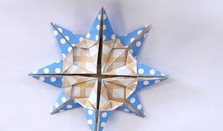 八瓣花手工折纸步骤图解法 手工折纸-第1张