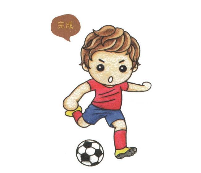 儿童简笔画足球运动员的画法 中级简笔画教程-第1张