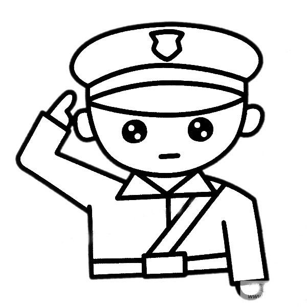 警察叔叔敬礼简笔画图片 中级简笔画教程-第2张