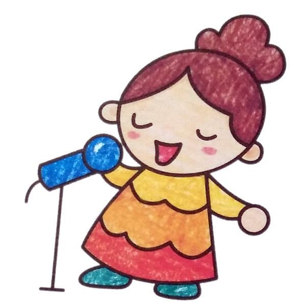 小女孩唱歌简笔画填色图 中级简笔画教程-第1张