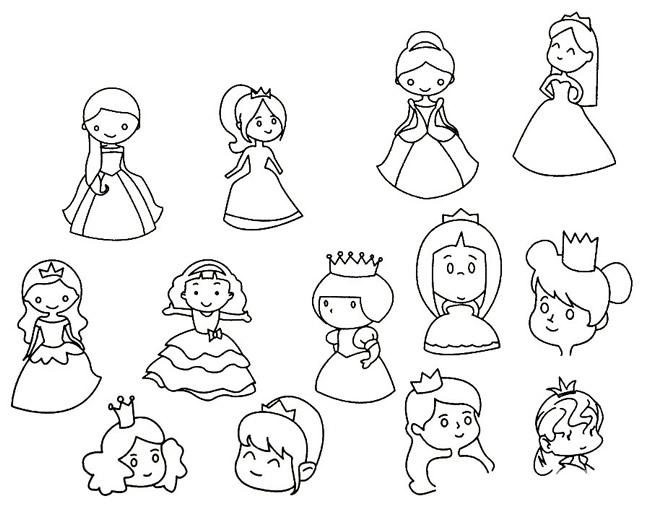 公主简笔画线稿画法步骤 中级简笔画教程-第6张