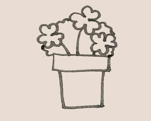 三叶草盆栽简笔画画法教程 中级简笔画教程-第7张