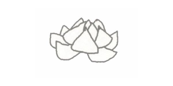 荷花简笔画的画法步骤图教程 植物-第2张