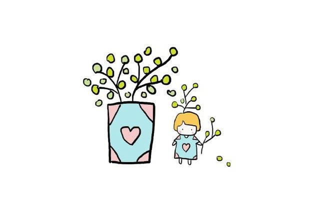 植物盆栽简笔画图画带颜色 中级简笔画教程-第3张