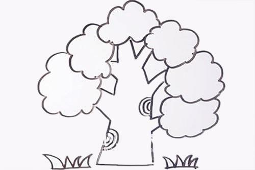 简单易学的大树儿童简笔画 中级简笔画教程-第1张