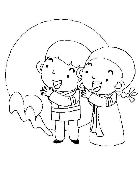 中秋节赏月简笔画图片 人物-第1张