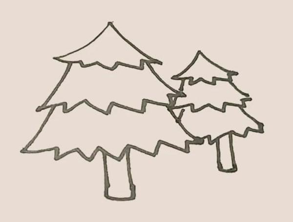 松树儿童简笔画简单好看 中级简笔画教程-第7张