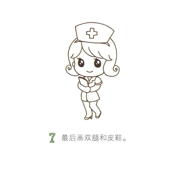 卡通护士简笔画画法步骤图 中级简笔画教程-第8张