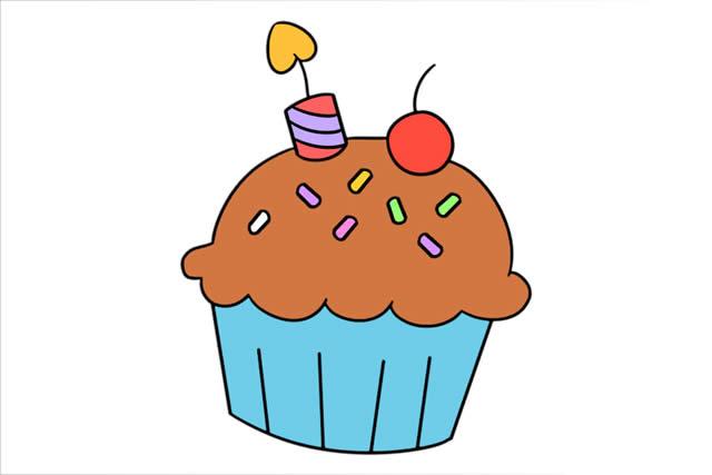 甜点小蛋糕简笔画步骤画法图片