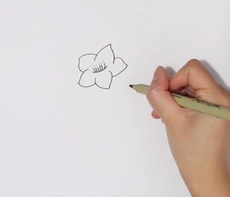 桃花画法步骤,桃花简笔画 中级简笔画教程-第2张