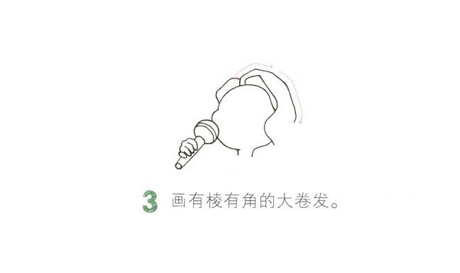 全彩女歌手简笔画画法教程 中级简笔画教程-第4张
