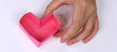 儿童手工折纸心形盒子的折法图解 手工折纸-第1张