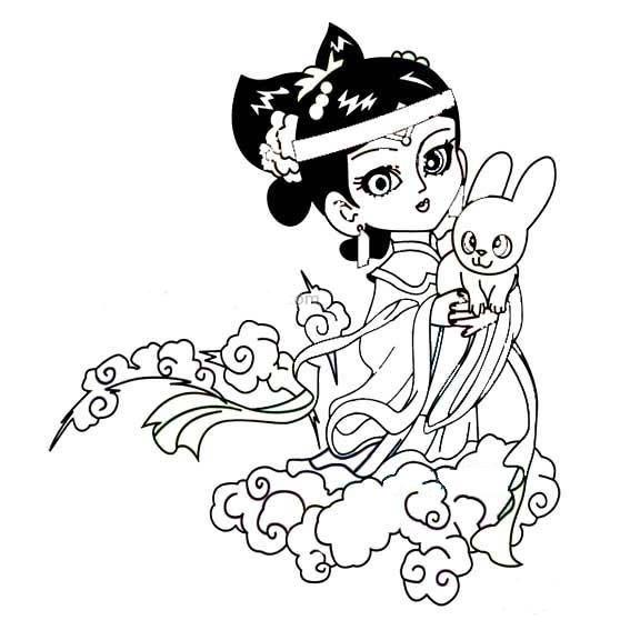 卡通嫦娥和玉兔简笔画 人物-第4张