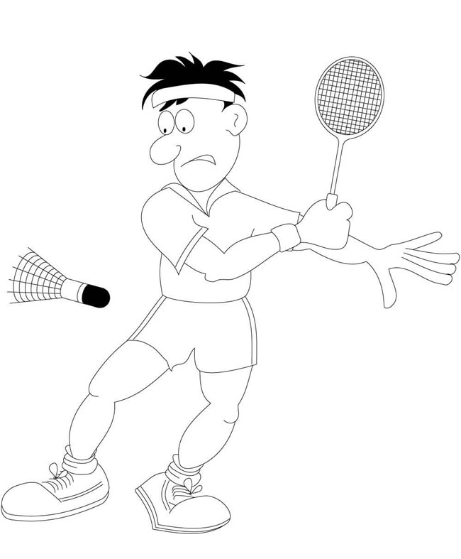 【打羽毛球简笔画】男孩打羽毛球简笔画怎么画图片 人物-第1张