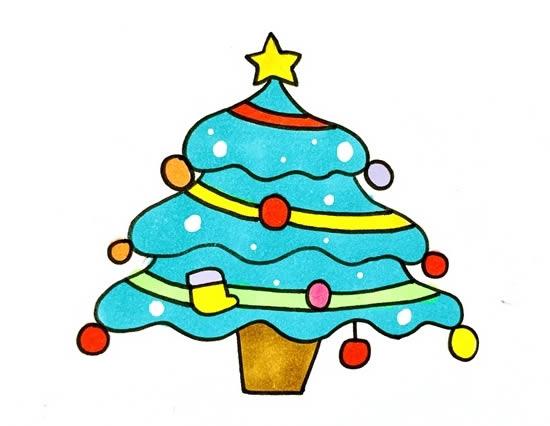 漂亮的圣诞树简笔画画法 初级简笔画教程-第1张