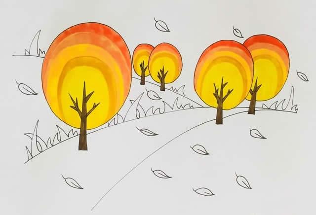 秋天风景简笔画彩色画法图片 植物-第5张