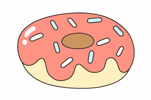 甜甜圈简笔画彩色可爱_甜甜圈简笔画画法步骤图片