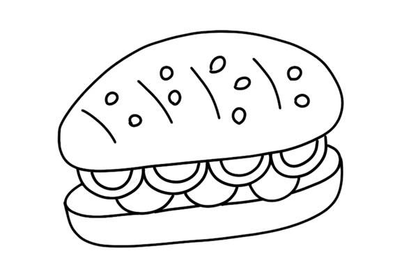 [汉堡简笔画]夹着火腿的汉堡简笔画彩色图片