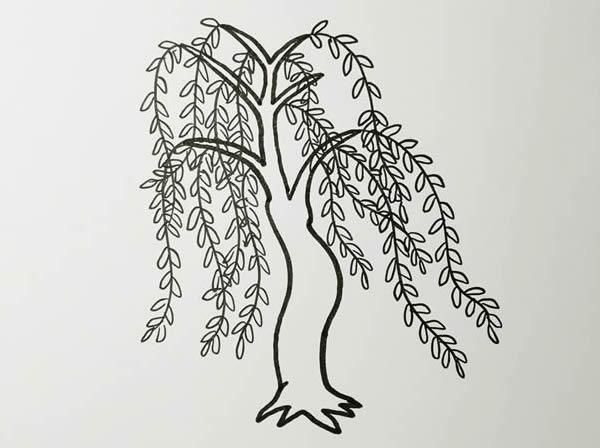 柳树画法步骤,柳树彩色画法 中级简笔画教程-第4张