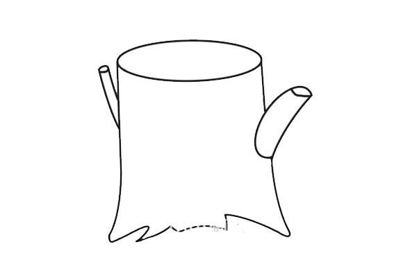 彩色树桩简笔画画法图片 初级简笔画教程-第3张