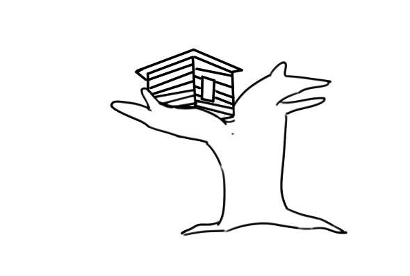 漂亮的树屋简笔画图片 中级简笔画教程-第4张