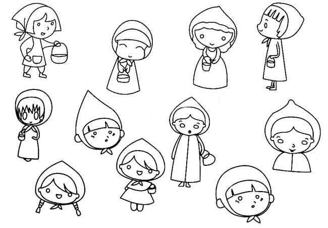 小红帽儿童简笔画画法 人物-第1张